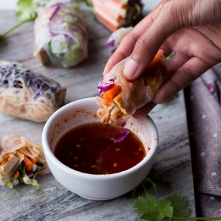 Baked Rice Paper Rolls with Sweet Chili Tofu