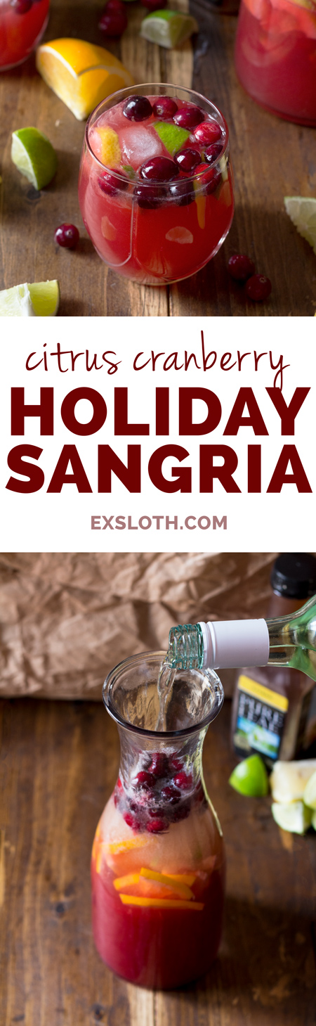 Easy Citrus Cranberry Holiday Sangria with Pure Leaf Tea via ExSloth.com