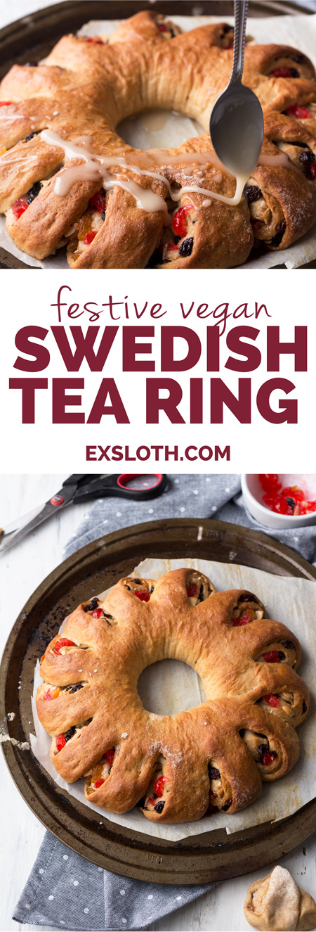 This festive vegan tea ring is a vegan take on a Christmas breakfast favourite: a Swedish tea ring | ExSloth.com