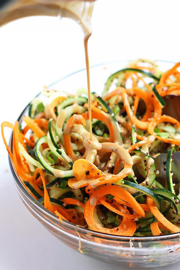 Spiralized Asian Quinoa Salad with Peanut Dressing - 10 Vegan Salad Dressings | ExSloth.com