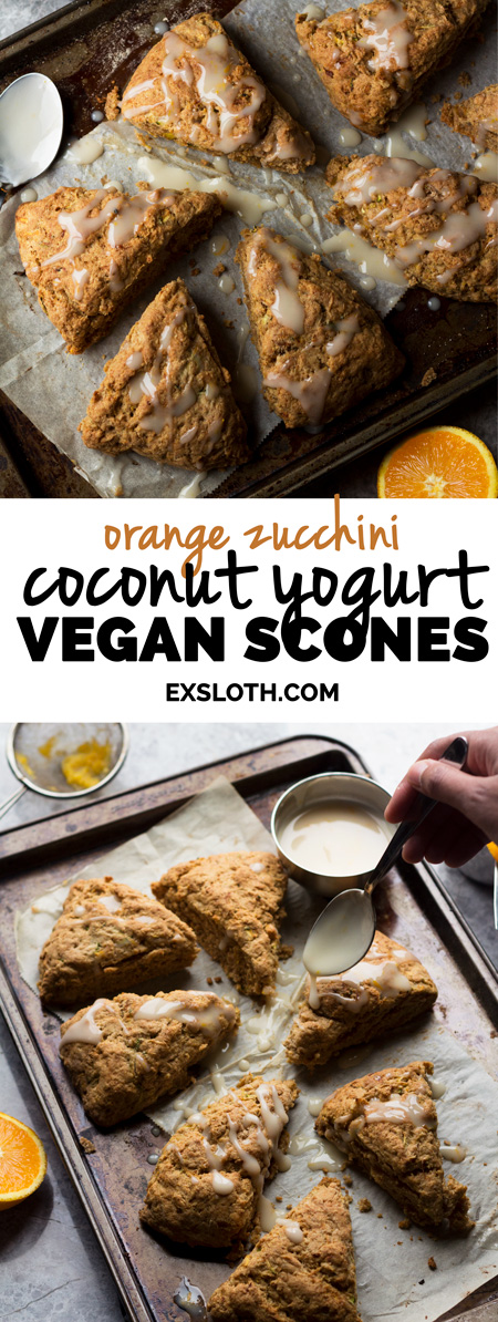 Vegan Orange Zucchini Coconut Yogurt Scones | ExSloth.com
