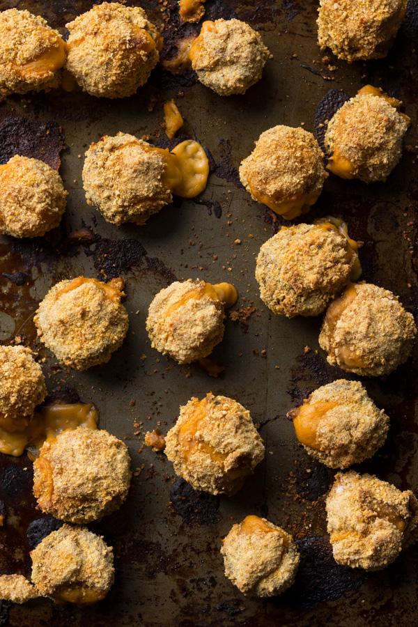 Easy crispy baked vegan cheese stuffed mushrooms (gluten-free | vegan | plant-based) via ExSloth.com