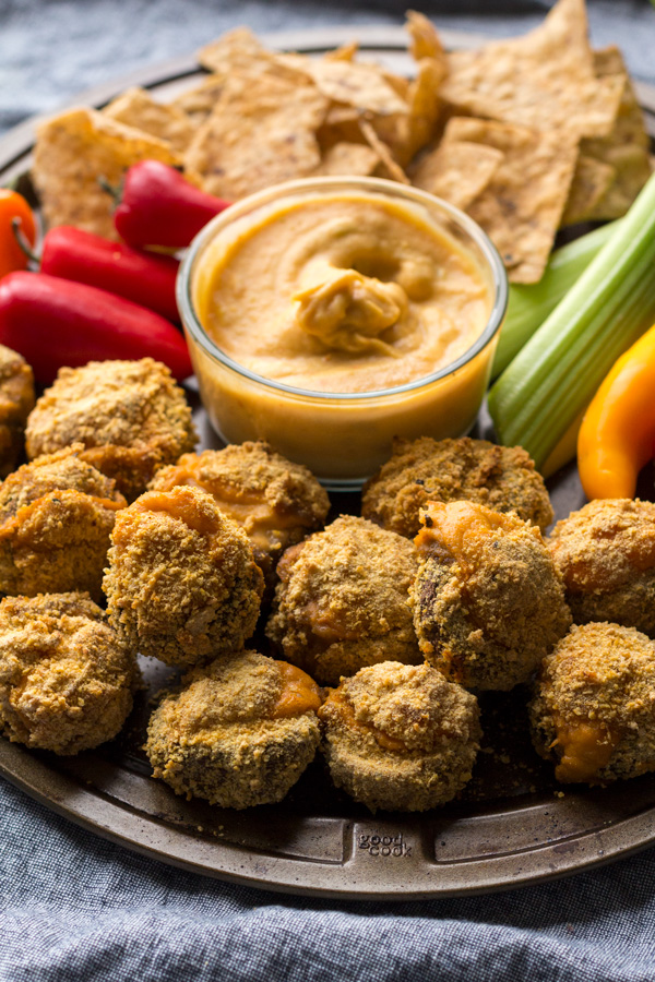 Easy crispy baked vegan cheese stuffed mushrooms (gluten-free | vegan | plant-based) via ExSloth.com