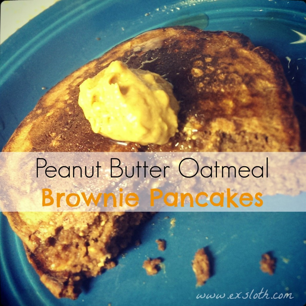 Peanut Butter Oatmeal Brownie Pancakes | ExSloth.com
