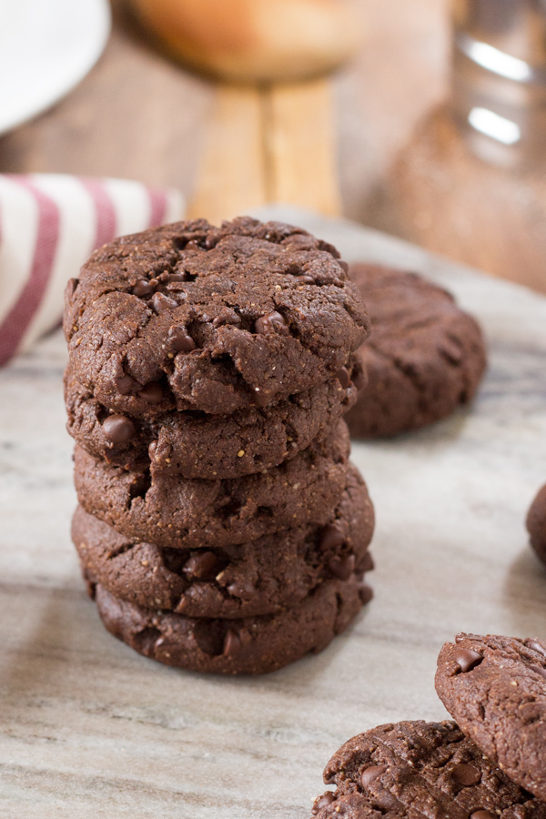 Decadent Vegan Double Chocolate Chip Cookies (made with spelt and oat flour and real maple syrup) via ExSloth.com