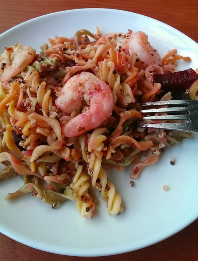 Garlic Shrimp Pasta w/ Roasted Beets #recipe | @ExSloth