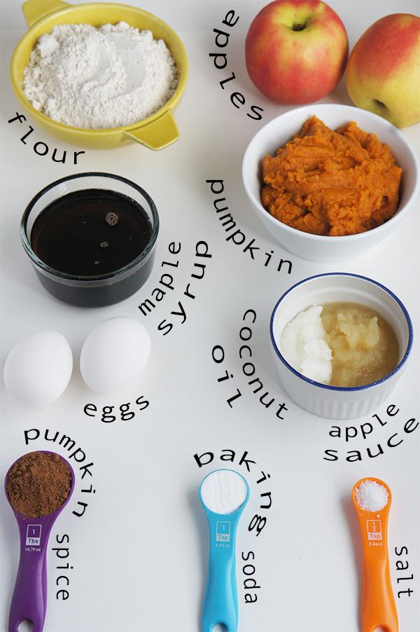 apple surprise pumpkin spice muffins ingredients @ExSloth ExSloth.com
