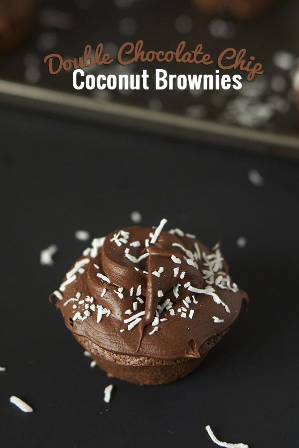 Double Chocolate Chip Coconut Brownies via @ExSloth | ExSloth.com
