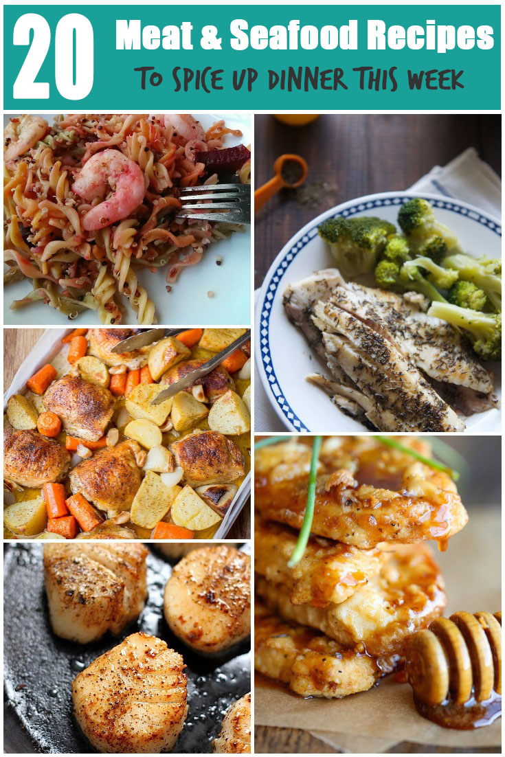 A round up of 20 Healthy Meat & Seafood Recipes for more varied dinners via @ExSloth   ExSloth.com