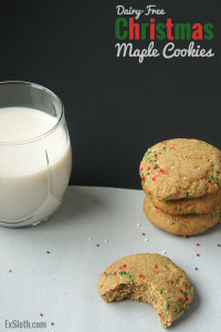 These Dairy-Free, Christmas Sugar Maple Cookies are dense and crumbly just like traditional sugar cookies but they've got less fats and are free of refined sugars via @ExSloth | ExSloth.com