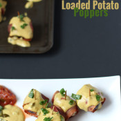 These Dairy-Free Inside Out Loaded Potatoes are crunchy on the outside, creamy on the inside with a little spiciness from the 'cheese' sauce topping. Perfect for last minute dinners and potlucks via @ExSloth | ExSloth.com