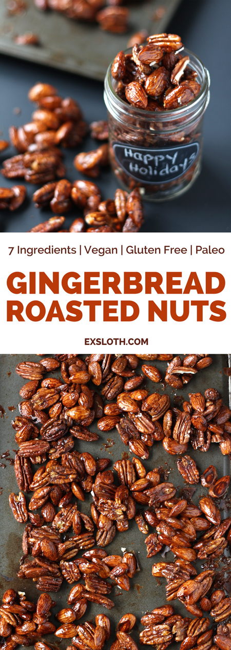These gingerbread glazed roasted nuts use the traditional sweet and spicy flavour of gingerbread men to give a treat perfect for holiday parties or Christmas gifts via ExSloth.com (paleo | gluten free | vegan | 7 ingredients)