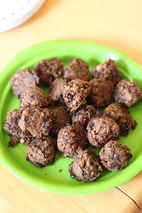 lentil mushroom walnut balls for thanksgiving