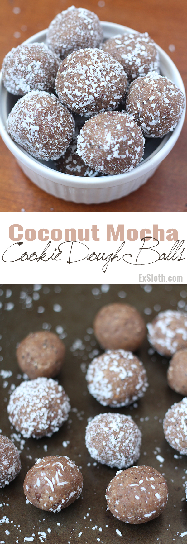 These coconut mocha cookie dough balls are rich sweet, slightly salty and also happen to be vegan and gluten free. The perfect egg-free alternative to regular cookie dough @ExSloth