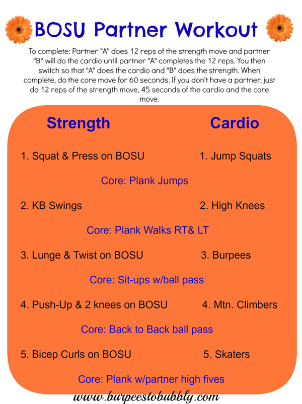burpees to bubbly bosu partner workout