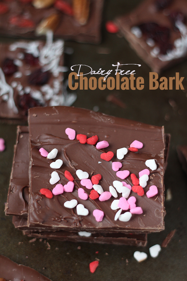 Skip the store boughtcandies this year and celebrate Valentine's Day a little healthier with this simple, customizable Dairy-Free Chocolate Bark recipe @ExSloth | ExSloth.com