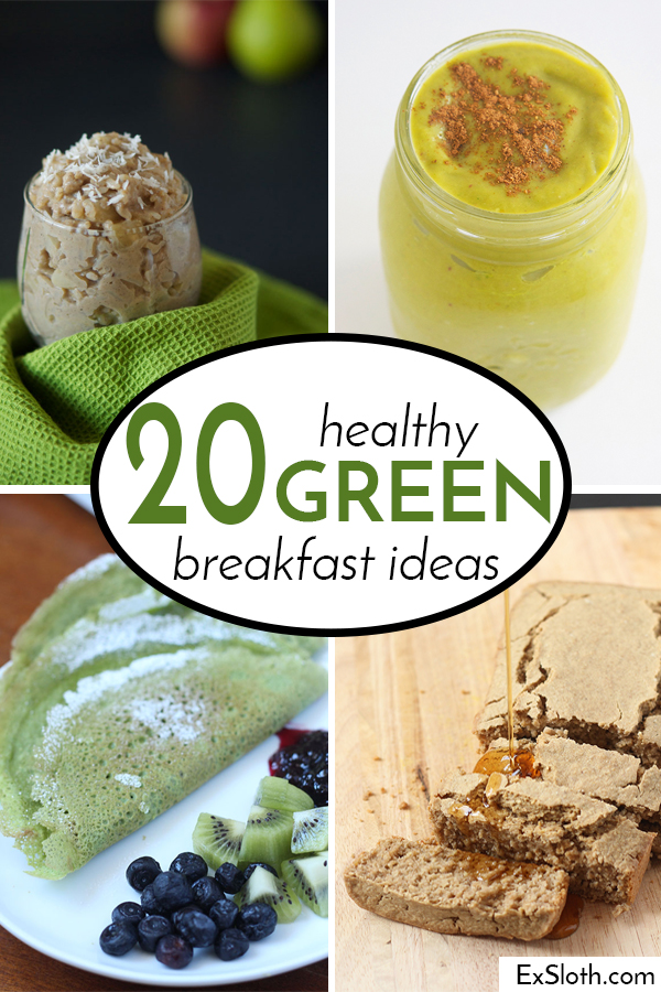 A list of 20 healthy green breakfast recipes, for any day, but especially St. Patty's via @ExSloth | ExSloth
