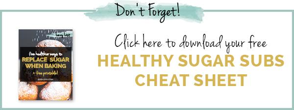 Free Printable: 5 healthier ways to replace sugar when baking via @ExSloth | ExSloth.com