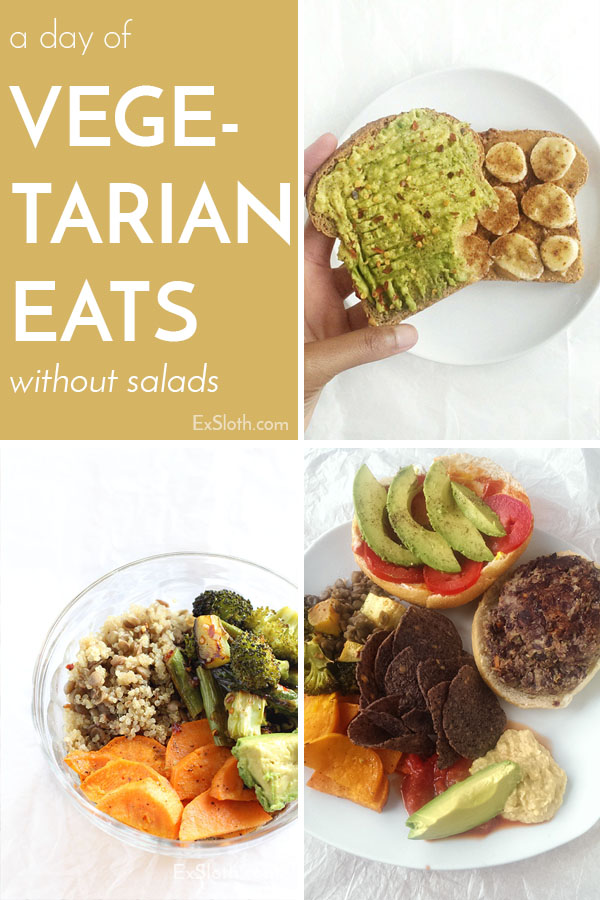 A day of healthy vegetarian meals without any salads via @ExSloth | ExSloth.com