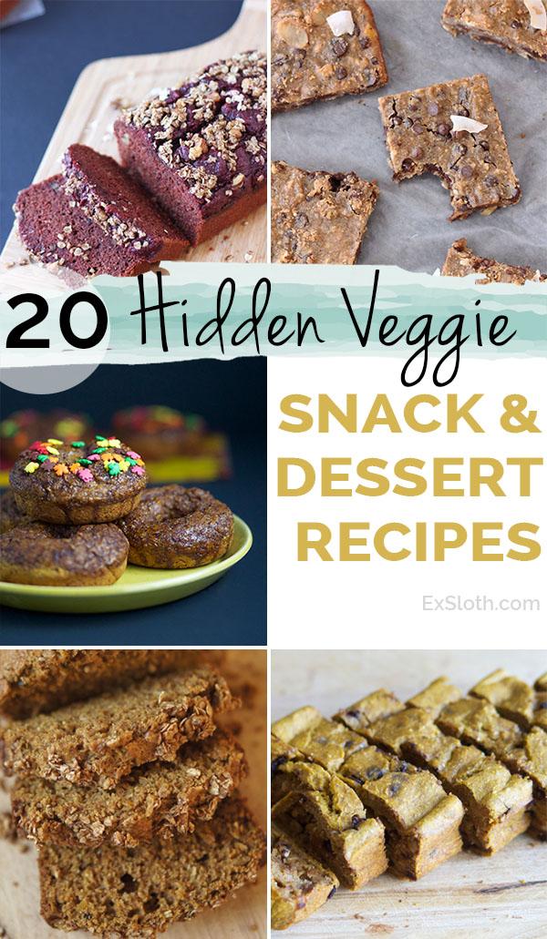 20 healthy hidden veggie snack and dessert recipes via @ExSloth | ExSloth.com