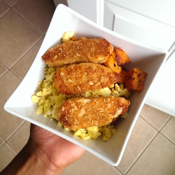 scrambled eggs and Gardein meatless tenders via @ExSloth