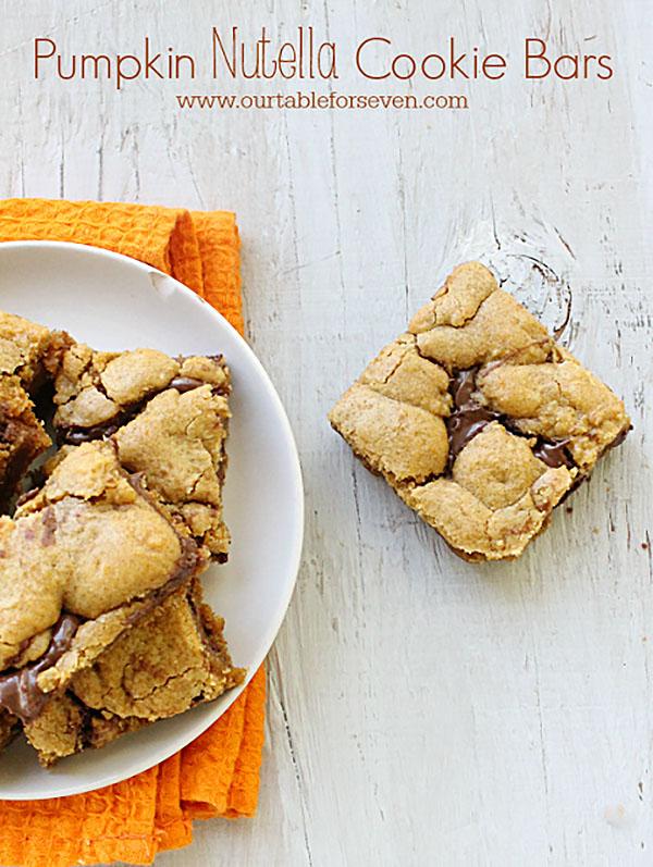 Pumpkin Nutella Cookie Bars via @tableforseven @ExSloth | Exsloth.com