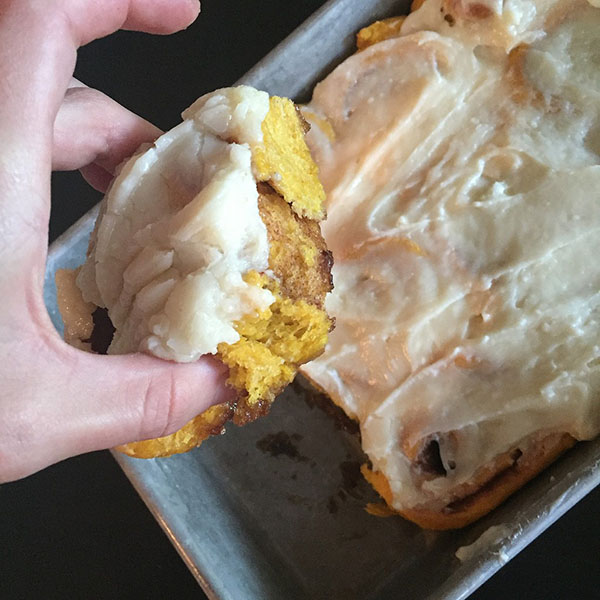 pumpkin spice cinnamon rolls via @olivesnwine @ExSloth | ExSloth.com