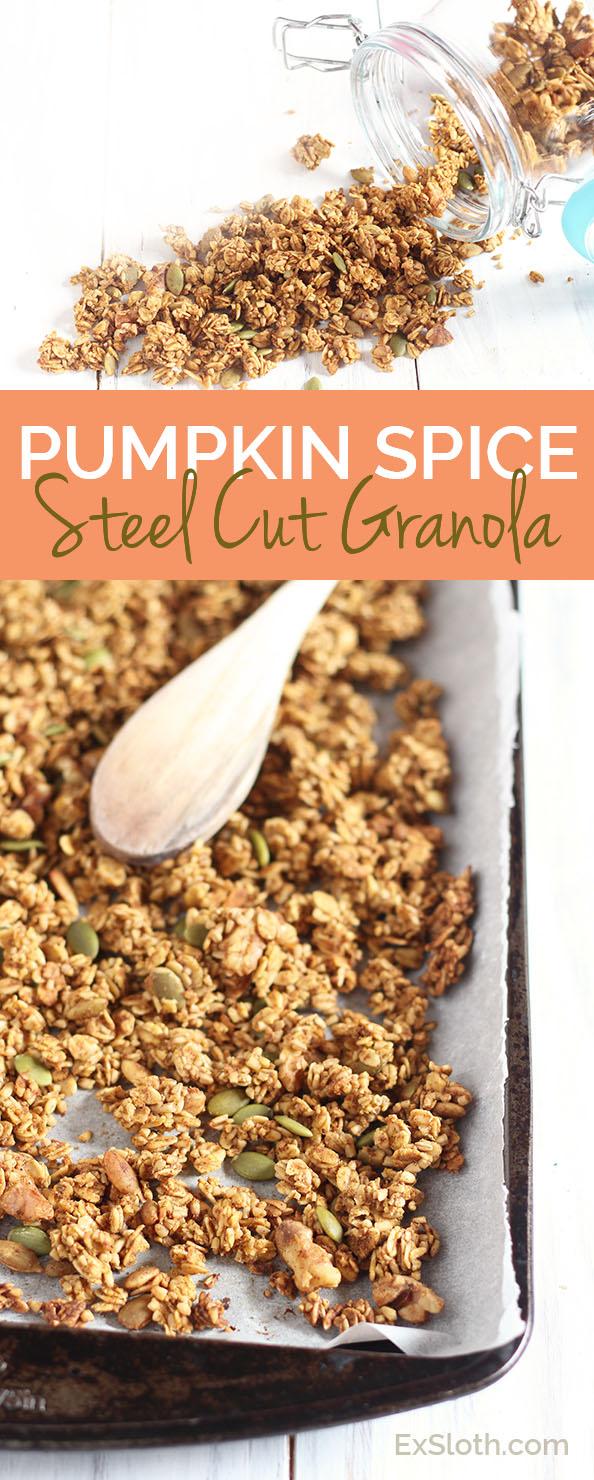 Vegan, gluten free pumpkin spice steel cut granola via @ExSloth | ExSloth.com