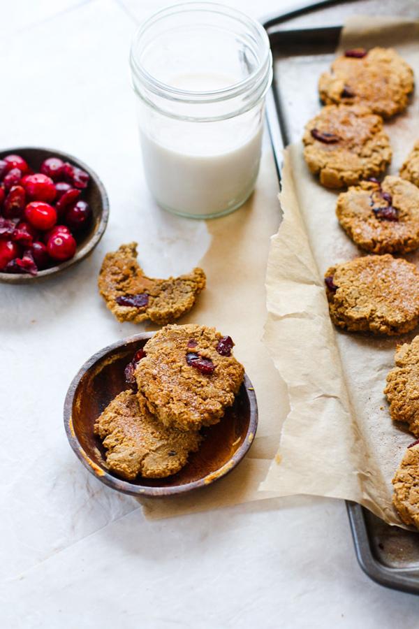 Vegan Cranberry Almond Molasses Cookies via Cotter Crunch