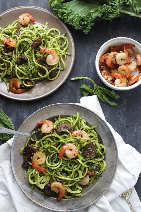 kale pesto zoodles via the almond eater