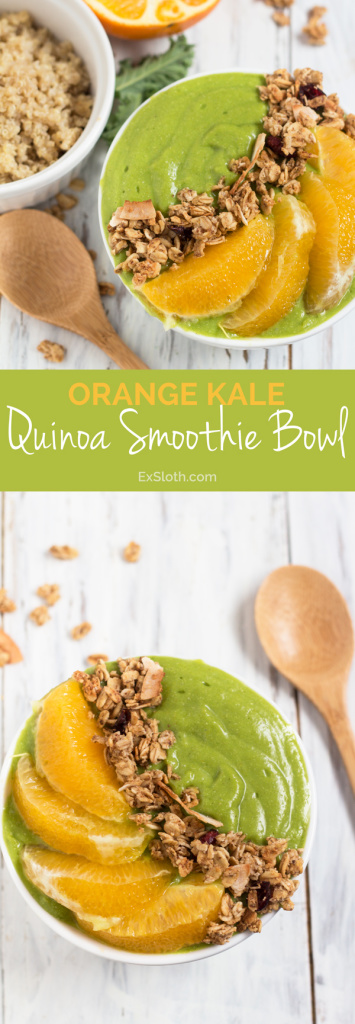 Orange Kale Quinoa Smoothie Bowl via @ExSloth | ExSloth.com