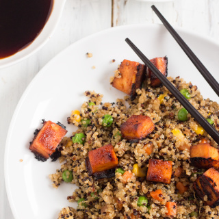 Vegan Fried Quinoa with BBQ Sriracha Tofu