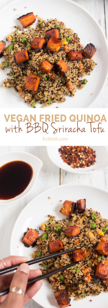 Vegan Fried Quinoa with BBQ Sriracha Tofu via @ExSloth | ExSloth.com