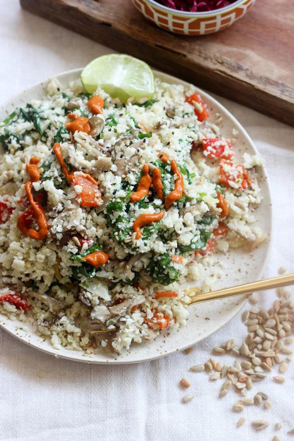 Easy Cauliflower Rice and Greens via Apollo and Luna
