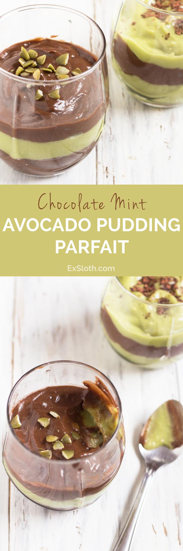 Vegan Chocolate Mint Avocado Pudding Parfait via @ExSloth   ExSloth.com