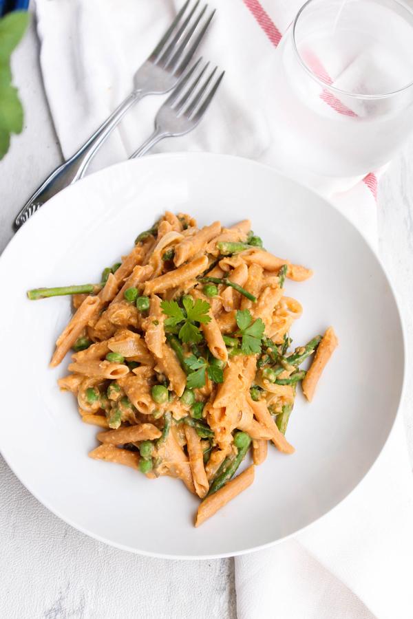 Spring Vegetable Hummus Pasta via Food, Pleasure & Health
