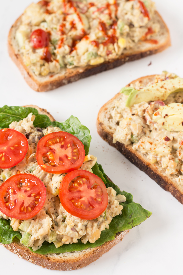 Easy Open-Faced Vegan Chickpea Salad Sandwich for Recipe ReDux via @ExSloth | ExSloth.com