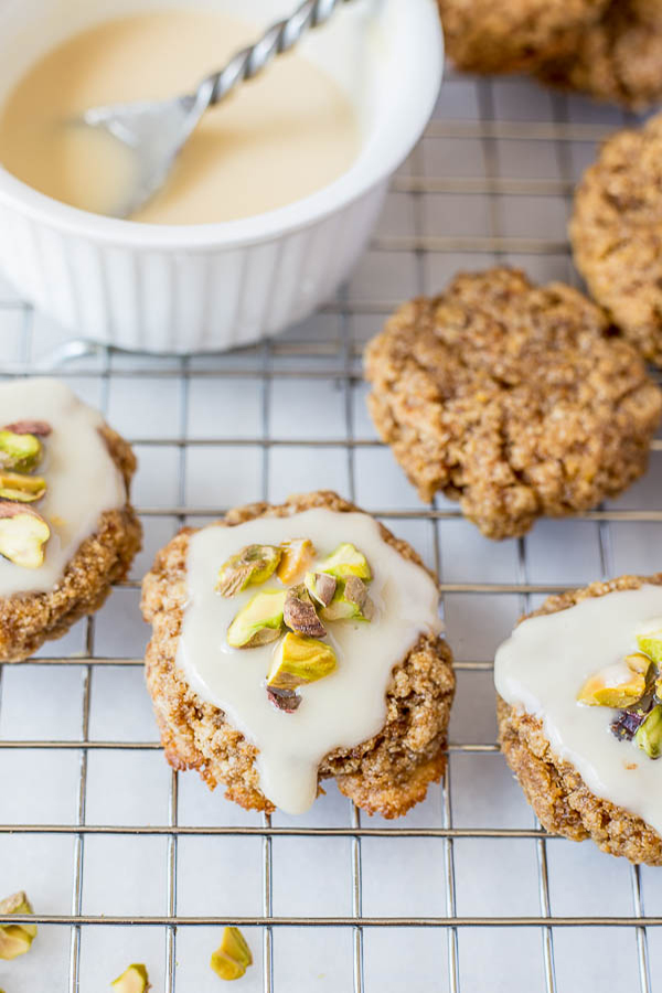 Chewy Lemon Cookies with Coconut Icing and Pistachios + 4 citrus-packed vegan recipes | ExSloth.com Fooduzzi.com