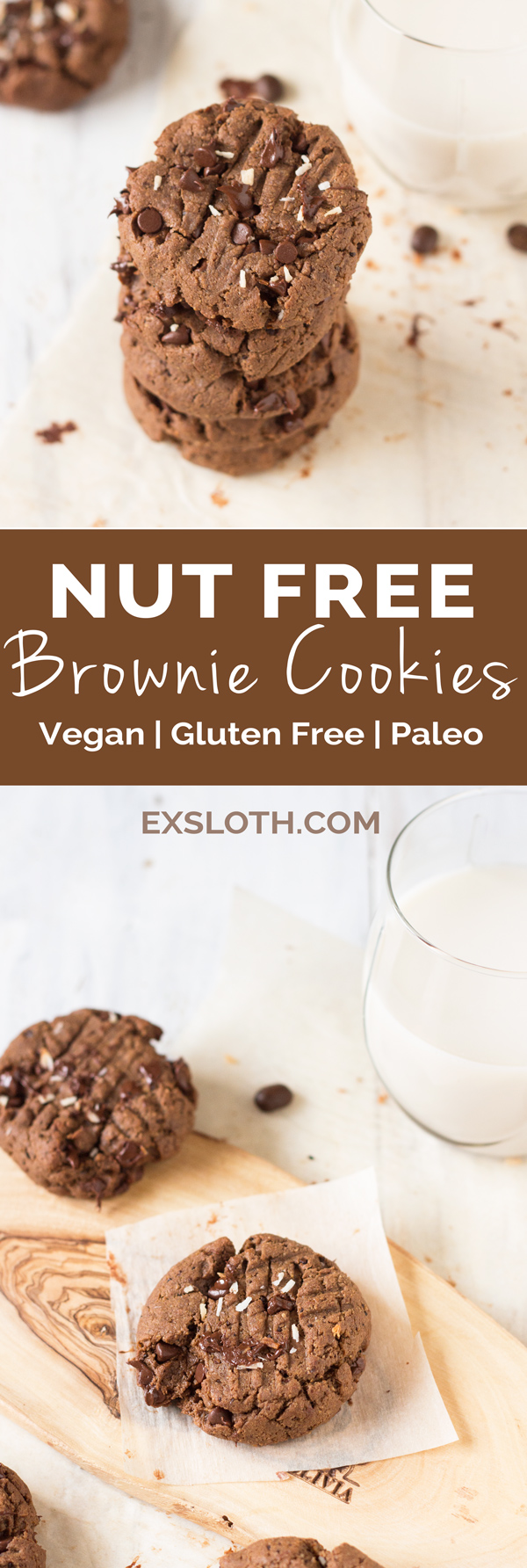These vegan nut free brownie cookies have a light crust/crunch on the outside but are soft, chewy and basically brownie-like on the inside. Plus, they're made with coconut flour and sunflower seed butter so they're gluten-free and paleo via @ExSloth | ExSloth.com