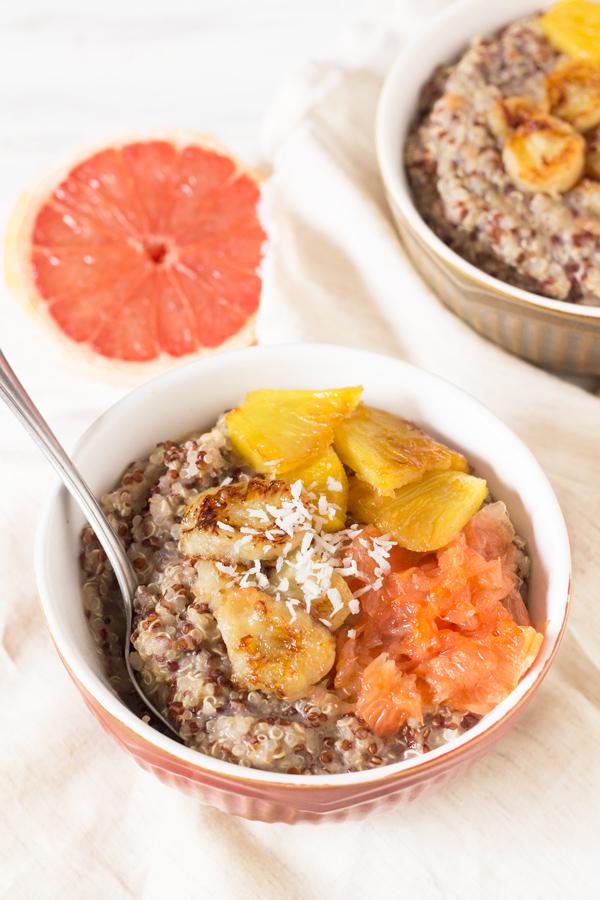 Easy Gluten-Free Vegan Caramelized Fruit Coconut Quinoa Porridge via @ExSloth | ExSloth.com