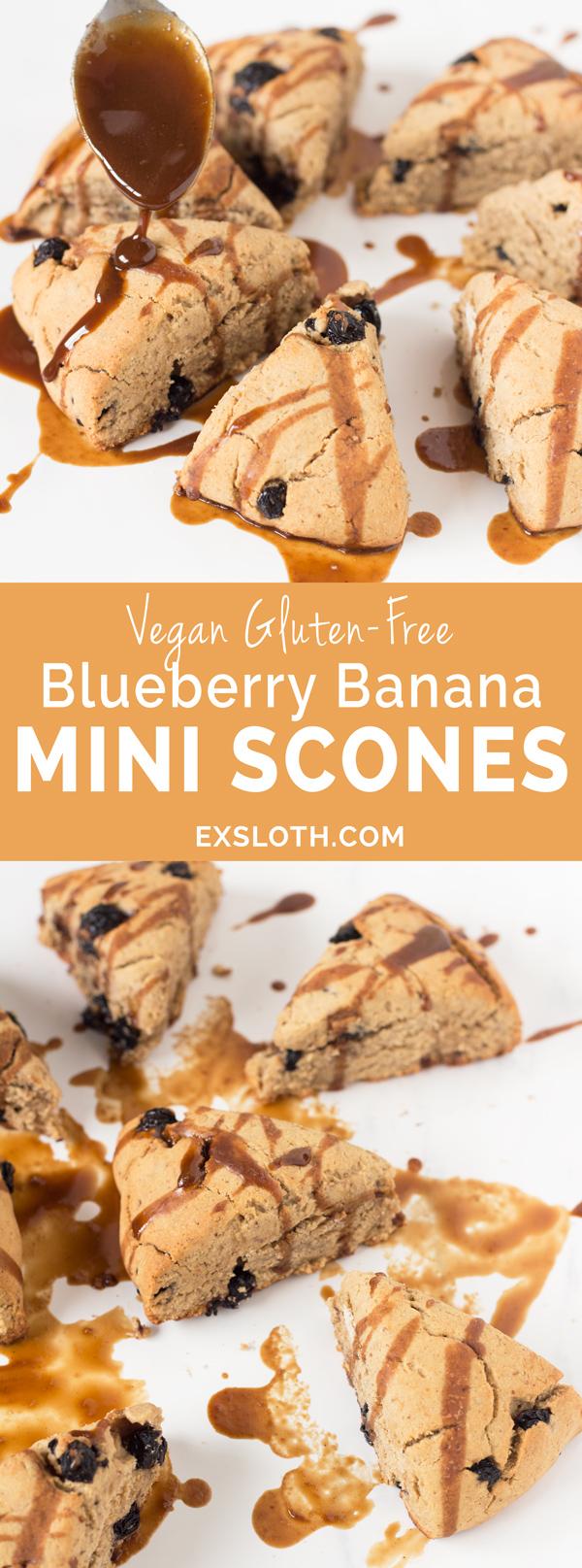 Gluten-Free Vegan Blueberry Banana Scones with Blueberry Black Tea Glaze via @ExSloth | ExSloth.com