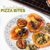 Roasted veggie pizza bites with sweet potato, zucchini and eggplant via @ExSloth | ExSloth.com