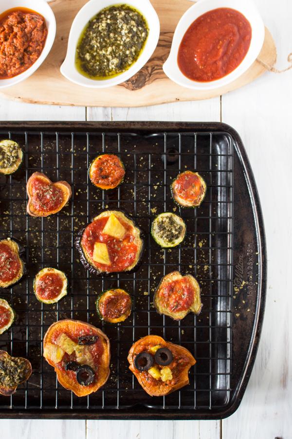 Roasted veggie pizza bites with sweet potato, zucchini and eggplant via @ExSloth | ExSloth.com