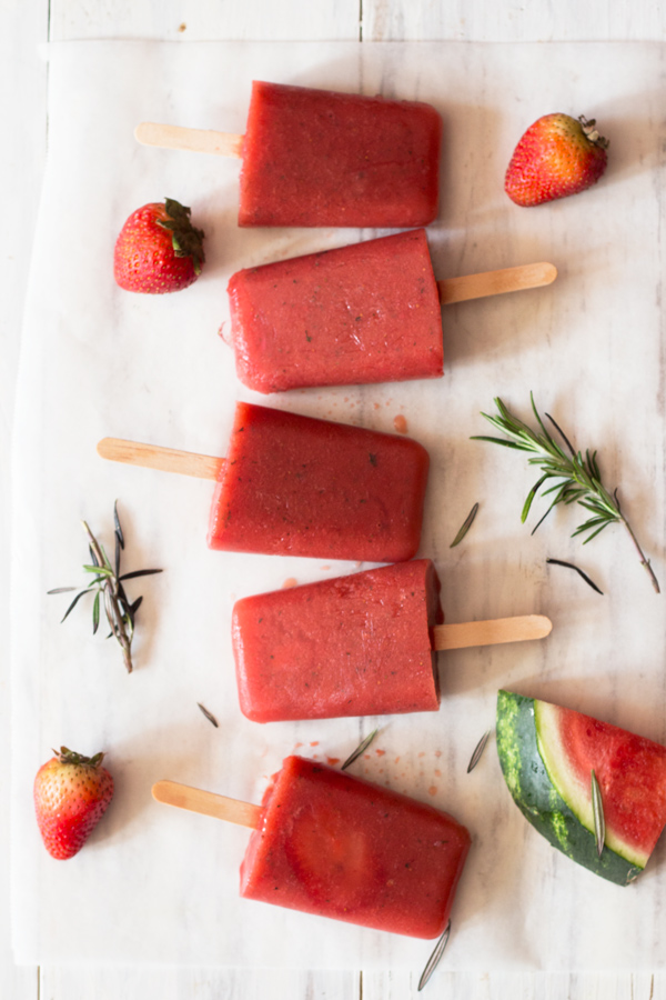 3 Ingredient Fruit & Rosemary Popsicles (Vegan, Gluten Free, Paleo) via @ExSloth | ExSloth.com