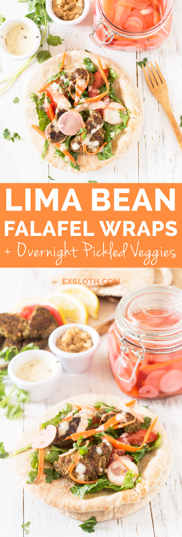 Lima Bean Falafel Wraps with Overnight Pickled Veggies (Vegan) via @ExSloth | ExSloth.com
