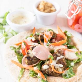 Lima Bean Falafel Wraps + Overnight Pickled Veggies