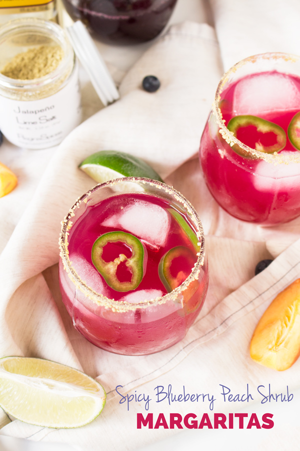 spicy blueberry peach shrub margaritas (healthy cocktail with drinking vinegars) @ExSloth   ExSloth.com