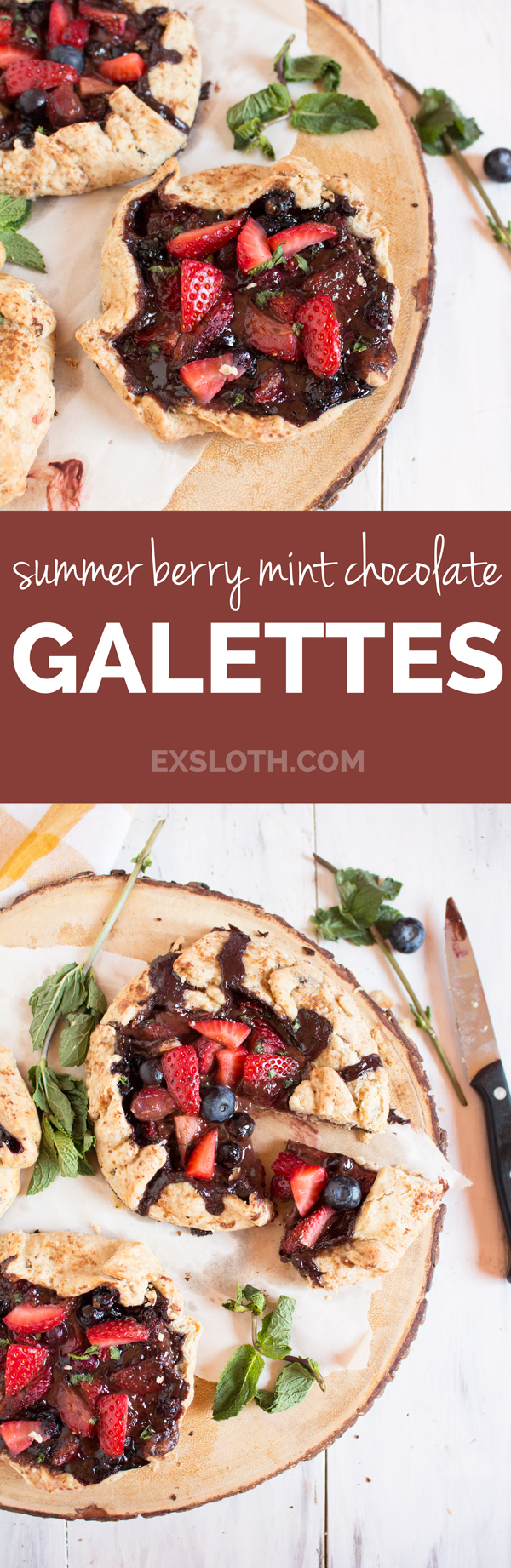 Vegan Summer Berry Mint Chocolate Galette (made with spelt flour and fresh mint) via @ExSloth | ExSloth.com