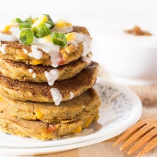 Zucchini Corn Savoury Pancakes with Spicy Vegan Sour Cream