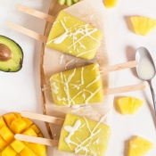 Tropical Avocado Popsicles for Ice Cream Sundays - vegan, paleo, gluten-free via @ExSloth | ExSloth.com